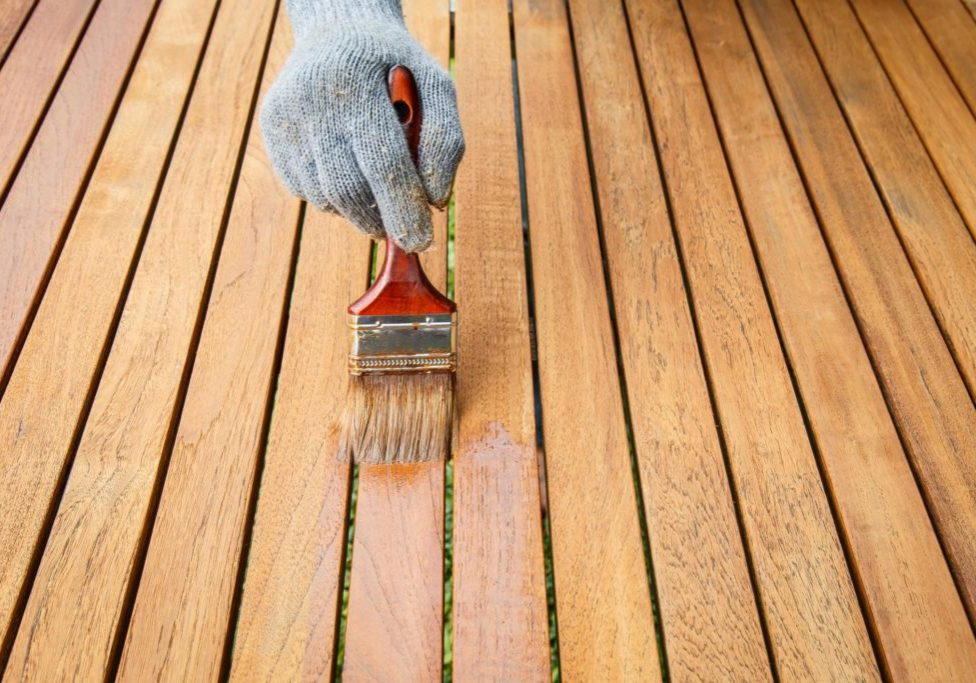 staining the wood planks